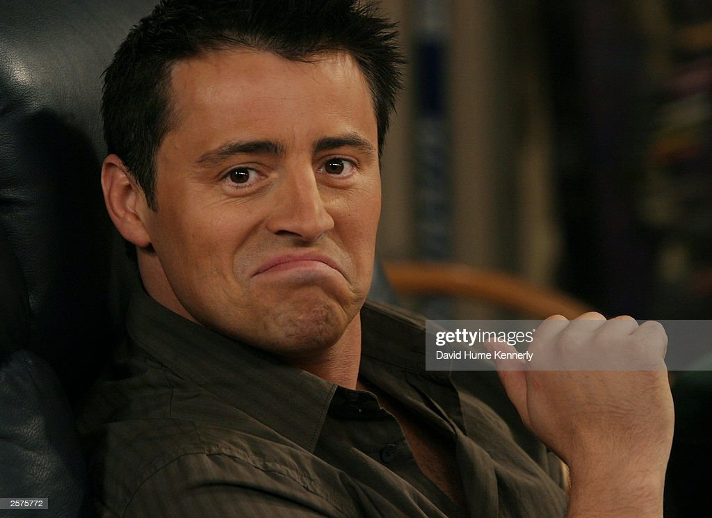 Matt LeBlanc who plays Joey on the hit NBC series 'Friends' makes a funny face on the set during one of their last shows on the Warner Bros lot Sept. 12, 2003 in Burbank, CA. 'Friends,' which is in its ninth and final season, debuted in 1994, has won 44 Emmys, and is one of the biggest successes in television history. (Photo by David Hume Kennerly/Getty Images) This image is not included in any subscription deal. Use of this image will incur a charge.