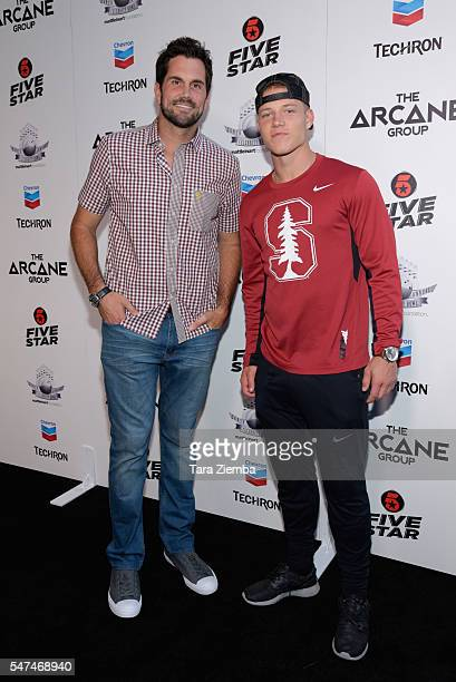 Matt Leinart and Christian McCaffrey attend Matt Leinart Foundation's 10th Annual Celebrity Bowl for Charity at Lucky Strike Lanes on July 14 2016 in...