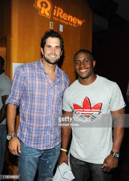 Matt Leinart and Reggie Bush attend the iRenew Matt Leinart 5th Annual Charity Bowling Tournament at Lucky Strike Bowling Alley on July 14 2011 in...