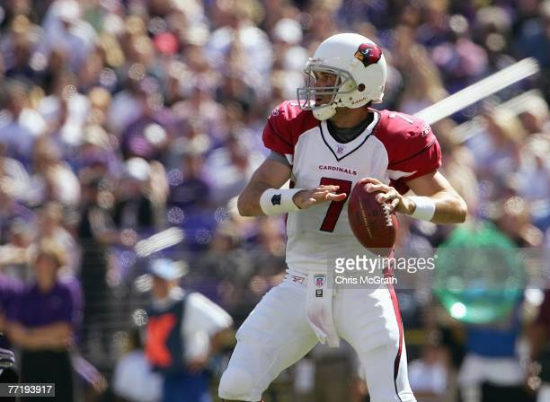 Matt Leinart of the Arizona Cardinals looks to pass the ball during the game against the Baltimore Ravens on September 23, 2007 at M&T Bank Stadium...