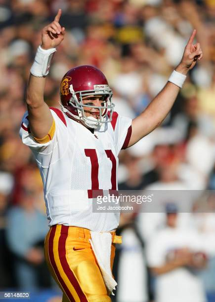 Matt Leinart of the USC Trojans celebrates after scoring a touchdown in the third quarter against the California Golden Bears to make the game 28-3...