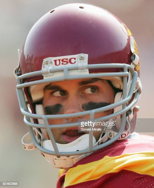 Matt Leinart of the USC Trojans is seen during the game against the California Golden Bears on October 9 2004 at Los Angeles Memorial Coliseum in Los...