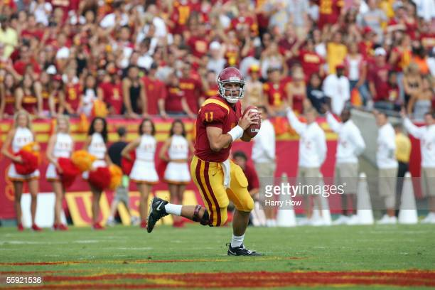 Matt Leinart of the USC Trojans looks to pass during the game with the Arizona Wildcats at the Los Angeles Colliseum on October 8 2005 in Los Angeles...