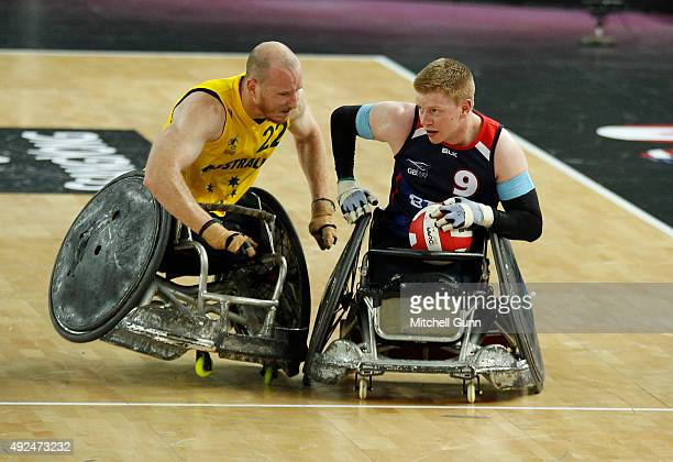 Matt Lewis of Australia crashes into Jim Roberts of Great Britain during the 2015 BT World Wheelchair Rugby Challenge match between Great Britain and...