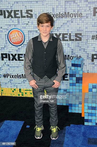 Matt Lintz attends Pixels New York premiere at Regal EWalk on July 18 2015 in New York City