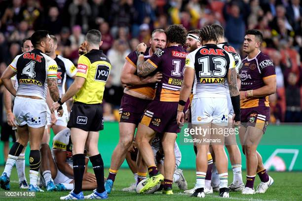 Matt Lodge of the Broncos celebrates scoring a try during the round 19 NRL match between the Brisbane Broncos and the Penrith Panthers at Suncorp...