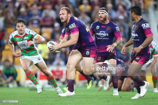 Matt Lodge of the Broncos runs the ball during the round 23 NRL match between the Brisbane Broncos and the South Sydney Rabbitohs at Suncorp Stadium...