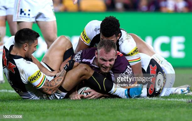 Matt Lodge of the Broncos scores a try during the round 19 NRL match between the Brisbane Broncos and the Penrith Panthers at Suncorp Stadium on July...