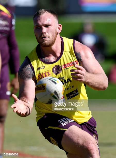Matt Lodge passes the ball during a Brisbane Broncos NRL training session on August 22 2018 in Brisbane Australia