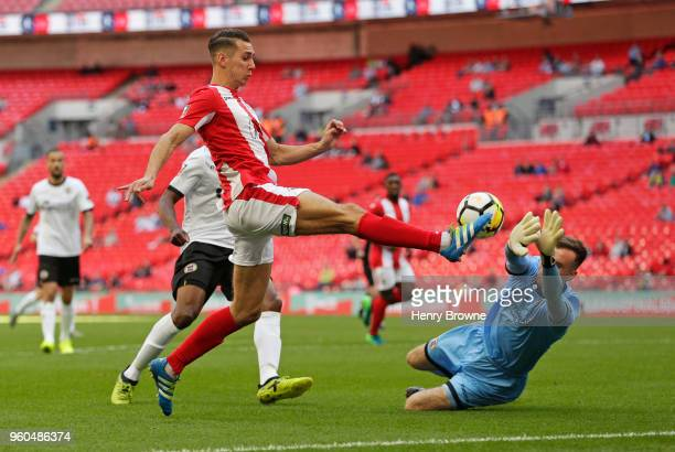 Matt Lowe of Brackley Town and David Gregory of Bromley during The Buildbase FA Trophy Final between Brackley Town and Bromley FC at Wembley Stadium...
