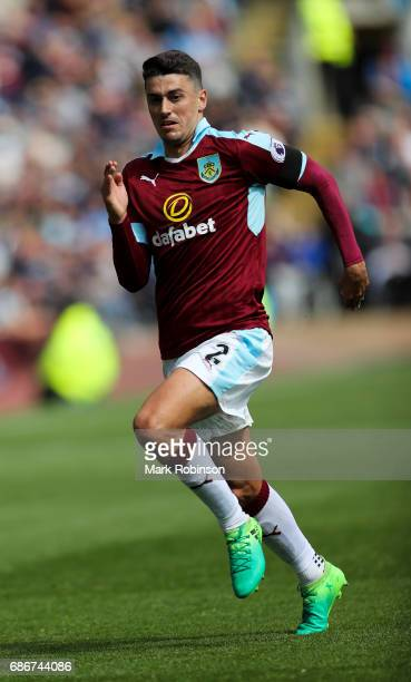 Matt Lowton of Burnley during the Premier League match between Burnley and West Ham United at Turf Moor on May 21 2017 in Burnley England