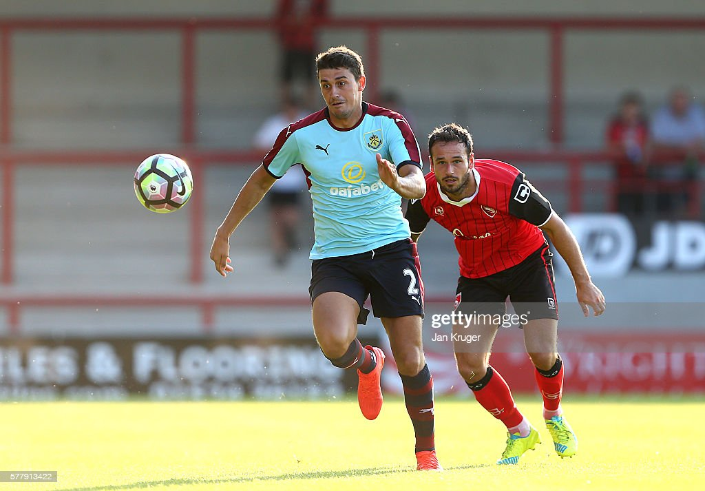 Matt Lowton of Burnley looks on during the pre season friendly match between Morecambe and Burnley at Globe Arena on July 19, 2016 in Morecambe, England.