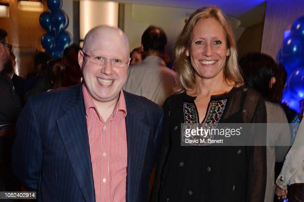 """Matt Lucas and Sophie Raworth attend the press night after party for """"Company"""" at The Prince of Wales Theatre on October 17, 2018 in London, England."""
