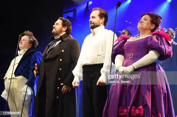 """Matt Lucas, Michael Ball, Alfie Boe and Katy Secombe bow at the curtain call during the return of """"Les Miserables: The Staged Concert"""" to London's..."""