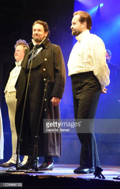 """Matt Lucas, Michael Ball and Alfie Boe bow at the curtain call during the return of """"Les Miserables: The Staged Concert"""" to London's West End..."""
