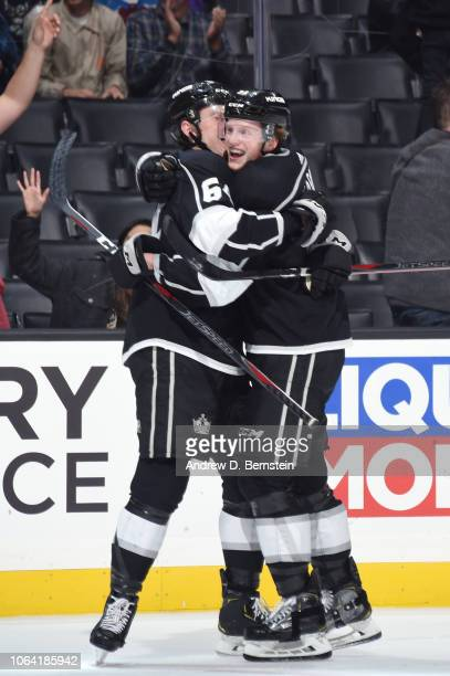 Matt Luff and Austin Wagner of the Los Angeles Kings celebrate after scoring a goal against the Colorado Avalanche at STAPLES Center on November 21...