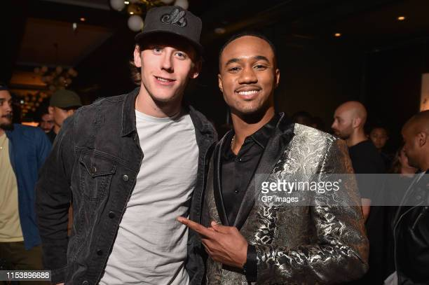 Matt Luff and SHAFT actor Jessie T Usher attend the SHAFT Toronto tastemakers launch reception held Bisha Hotel on June 4 2019 in Toronto Canada
