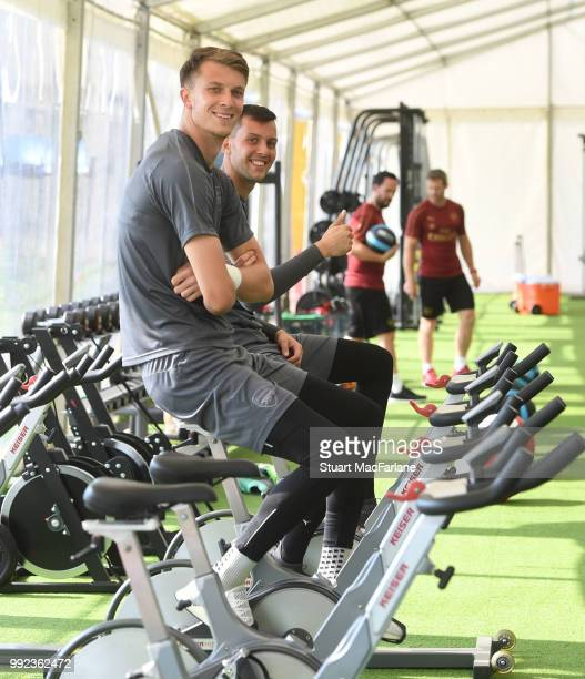Matt Macey and Dejan Iliev of Arsenal during a training session at London Colney on July 5 2018 in St Albans England