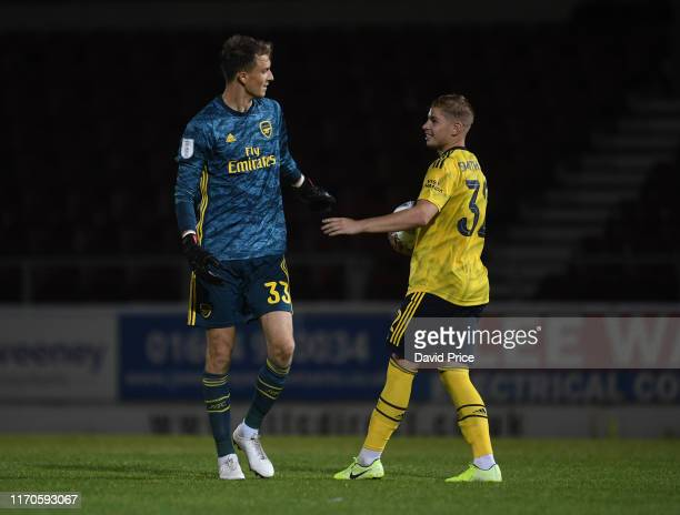 Matt Macey and Emile Smith Rowe of Arsenal during the penalty shoot out after the Leasingcom match between Northampton Town and Arsenal U21 at PTS...