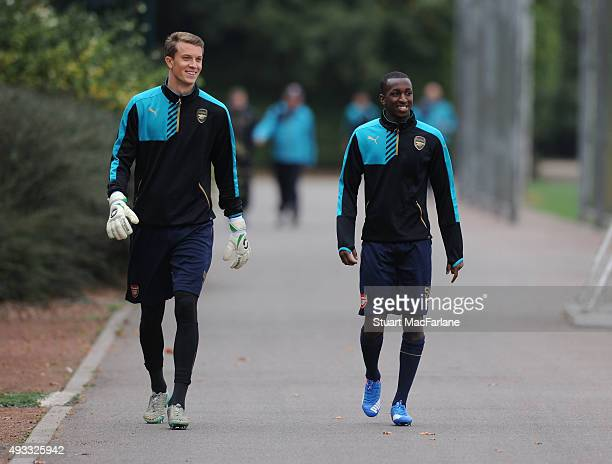 Matt Macey and Glen Kamara of Arsenal before a training session at London Colney on October 19 2015 in St Albans England