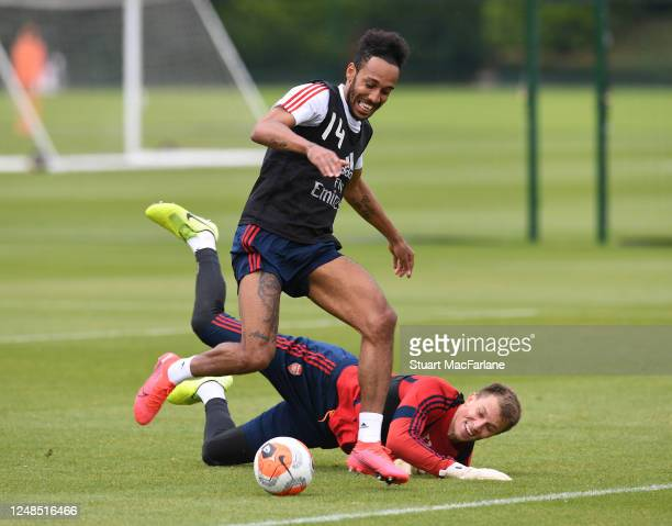 Matt Macey and Pierre-Emerick Aubameyang of Arsenal during a training session at London Colney on June 09, 2020 in St Albans, England.