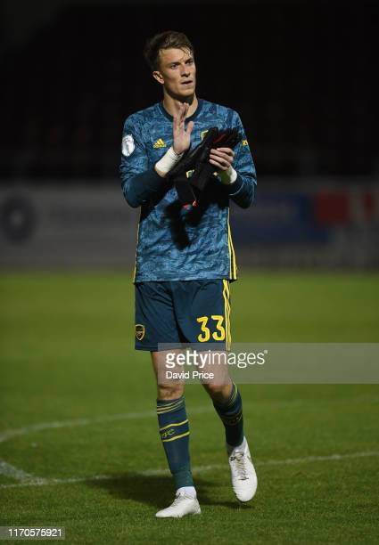 Matt Macey of Arsenal after the Leasingcom match between Northampton Town and Arsenal U21 at PTS Academy Stadium on August 27 2019 in Northampton...