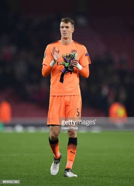 Matt Macey of Arsenal after the UEFA Europa League group H match between Arsenal FC and Crvena Zvezda at Emirates Stadium on November 2 2017 in...