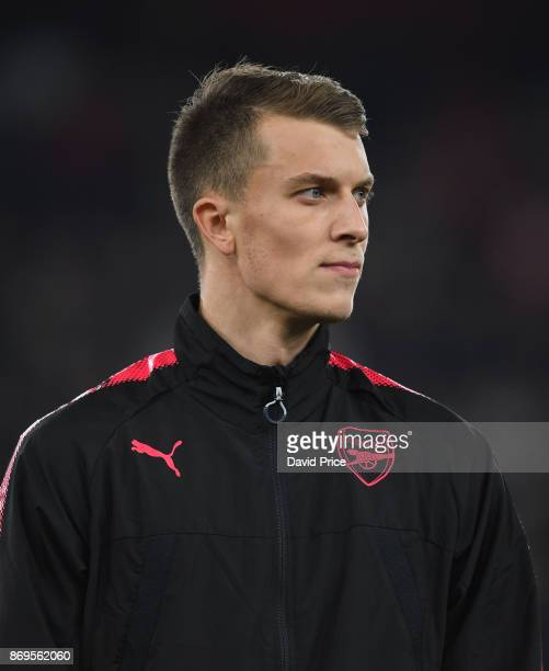 Matt Macey of Arsenal before the UEFA Europa League group H match between Arsenal FC and Crvena Zvezda at Emirates Stadium on November 2 2017 in...