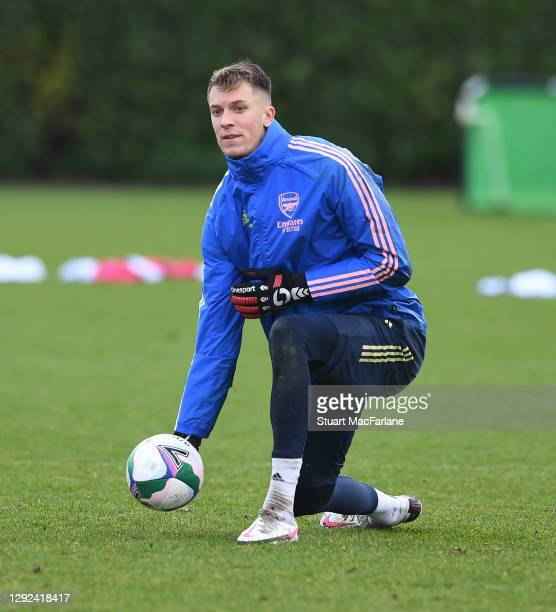 Matt Macey of Arsenal during a training session at London Colney on December 21, 2020 in St Albans, England.