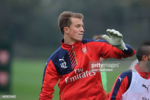 Matt Macey of Arsenal during a training session at London Colney on October 16 2015 in St Albans England