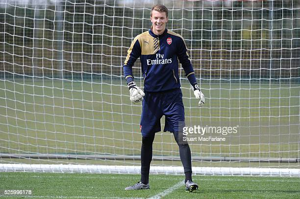 Matt Macey of Arsenal during a training session at London Colney on April 29 2016 in St Albans England