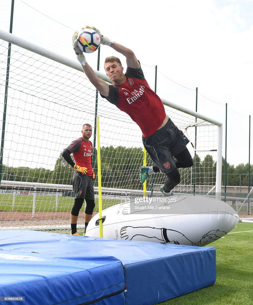 Matt Macey of Arsenal during a training session at London Colney on July 6, 2017 in St Albans, England.