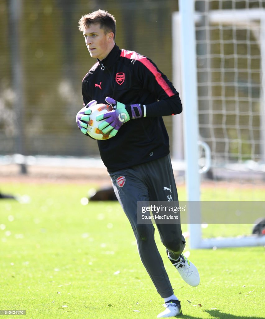 Matt Macey of Arsenal during a training session at London Colney on September 13, 2017 in St Albans, England.