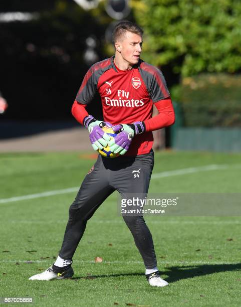 Matt Macey of Arsenal during a training session at London Colney on October 27 2017 in St Albans England