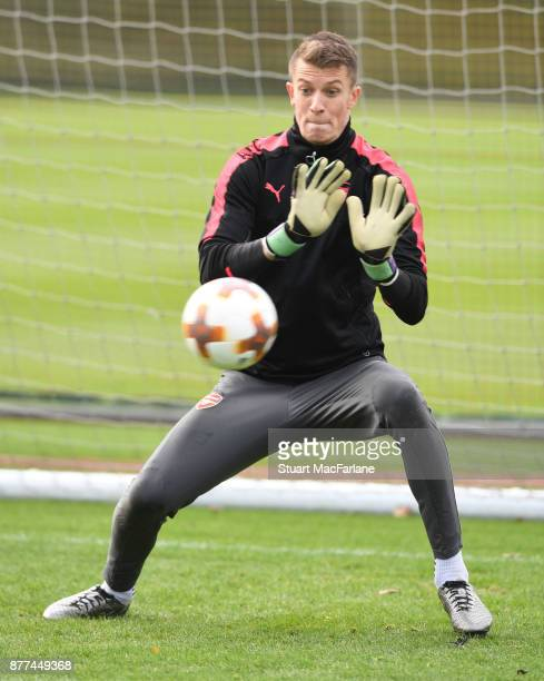 Matt Macey of Arsenal during a training session at London Colney on November 22 2017 in St Albans England