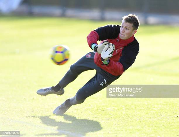 Matt Macey of Arsenal during a training session at London Colney on November 25 2017 in St Albans England