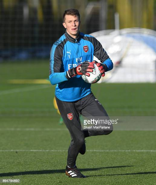Matt Macey of Arsenal during a training session at London Colney on December 18 2017 in St Albans England