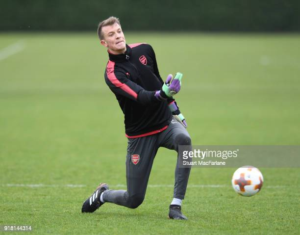 Matt Macey of Arsenal during a training session at London Colney on February 14 2018 in St Albans United Kingdom