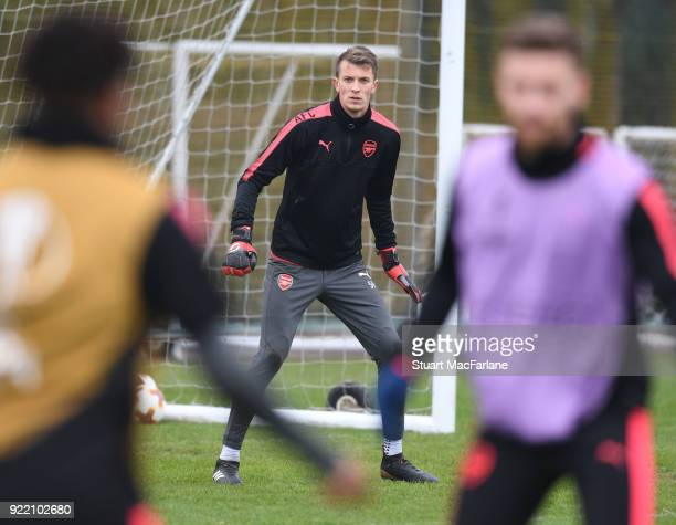 Matt Macey of Arsenal during a training session at London Colney on February 21 2018 in St Albans England