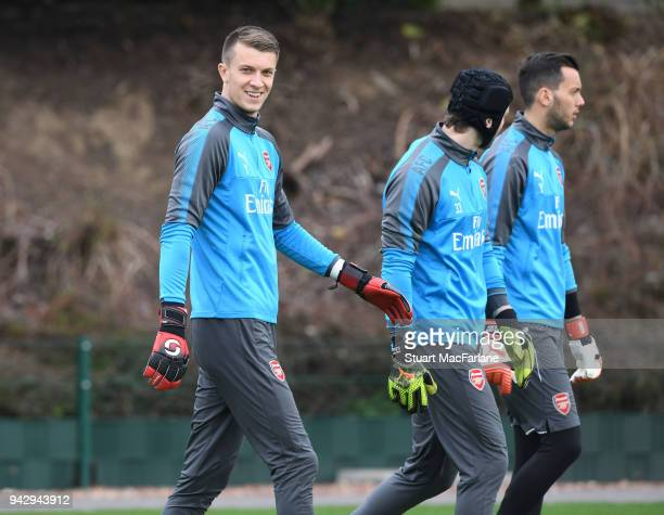 Matt Macey of Arsenal during a training session at London Colney on April 7 2018 in St Albans England