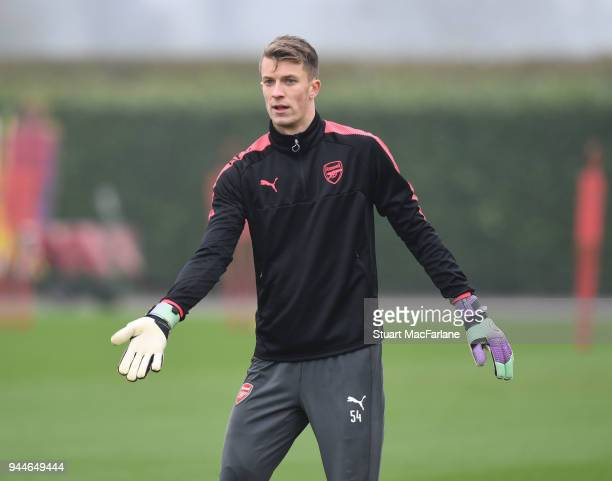 Matt Macey of Arsenal during a training session at London Colney on April 11 2018 in London England
