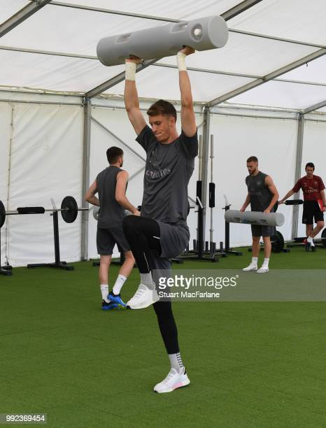 Matt Macey of Arsenal during a training session at London Colney on July 5 2018 in St Albans England