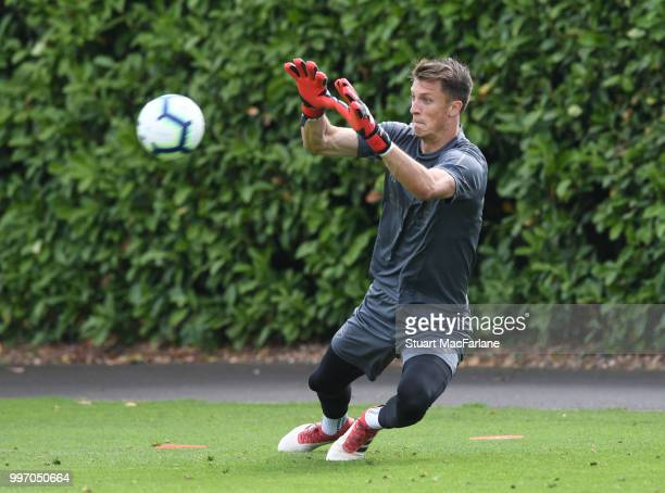 Matt Macey of Arsenal during a training session at London Colney on July 12 2018 in St Albans England