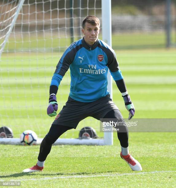 Matt Macey of Arsenal during the 1st team training session at London Colney on March 26 2018 in St Albans England