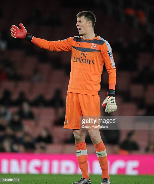 Matt Macey of Arsenal during the Barclays Premier League match between Arsenal and Newcastle United at Emirates Stadium on April 8 2016 in London...