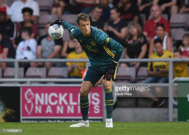 Matt Macey of Arsenal during the Leasingcom match between Northampton Town and Arsenal U21 at PTS Academy Stadium on August 27 2019 in Northampton...