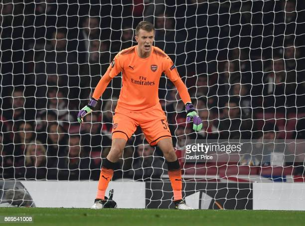 Matt Macey of Arsenal during the UEFA Europa League group H match between Arsenal FC and Crvena Zvezda at Emirates Stadium on November 2 2017 in...
