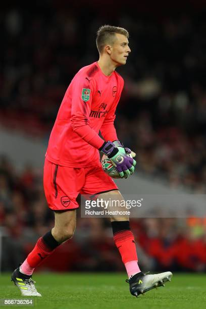 Matt Macey of Arsenal in action during the Carabao Cup Fourth Round match between Arsenal and Norwich City at Emirates Stadium on October 24 2017 in...
