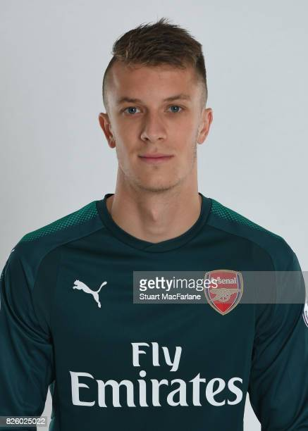 Matt Macey of Arsenal poses in a first team photocall at Emirates Stadiumon August 3 2017 in London England