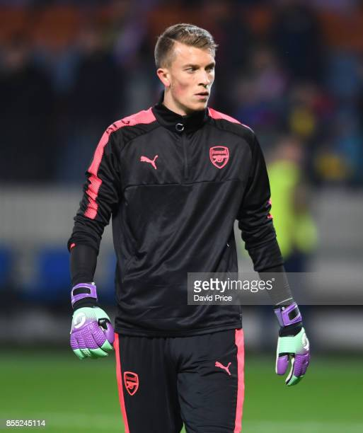 Matt Macey of Arsenal warms up before the UEFA Europa League group H match between BATE Borisov and Arsenal FC at BorisovArena on September 28 2017...